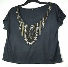 GREY LADIES CASUAL CROPPED TOP SIZE 8 WAREHOUSE STUDS SEQUIN DECORATION