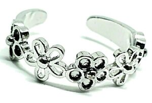 Daisy Chain Flower Adjustable Open Toe Ring 925 Sterling Silver Plated Plt Boxed