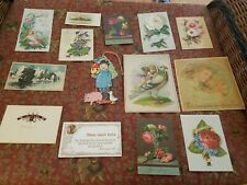 14 Antique Victorian Colored Calling  Holiday Religeous Card LOT