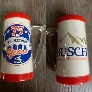 Vintage 1985 Chicago White Sox Comiskey Park 75 Years Stein Mug Glass Busch Beer