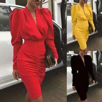 Women's Sexy Slim V Neck Dress Lady Bodycon Nightclub Pleated Ball Gown Dresses