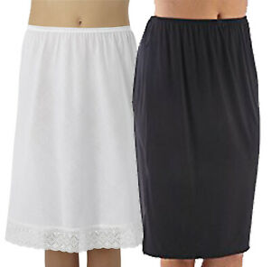 "New Ladies 18 27"" Premium Polycotton White/Black Embroidery Underskirt Half Slip"