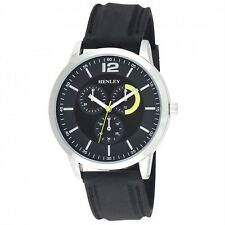 Henley Men's Fashion Silicone Strap Large Dial Silver Casing Watch H02129.3