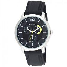 Henley Para Hombre de Moda Correa de Silicona Gran Esfera Plata Carcasa Reloj H02129.3