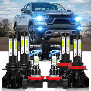 For Dodge RAM 1500 2019-2020 LED Headlight + Fog Light Lamp Bulbs 6x Combo 8000K