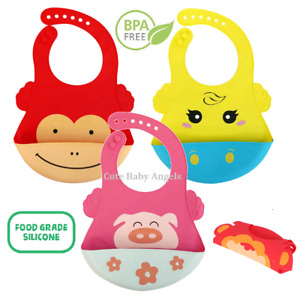 Soft Silicone Baby Feeding Bib Roll Up Pocket Apron Weaning Mess Cover BPA Free
