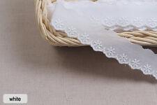 "14yds Embroidery cotton eyelet lace trim 1"" white YH1059  laceking2013"