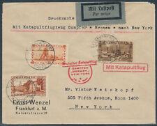 Katapultpost 25.6.1930 Zuleitung Saargebiet Beleg in die USA (S16708)