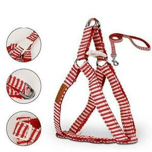 """Dog Step In Harness & Leash Red White Stripe Canvas Puppy 2 Pc Small 11-17""""Chest"""