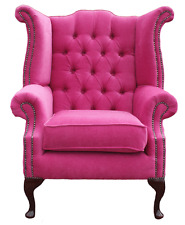 Chesterfield Queen Anne High Back Wing Chair Pimlico Fuchsia Pink Fabric