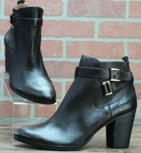 NEW $198 LOUISE ET CIE VIANNE PEBBLED LEATHER BOOTIES BROWN SIZE EUR 40/ US 10 M