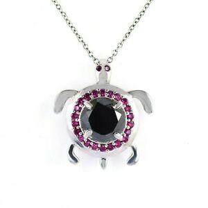 3.50 Ct Black Diamond Solitaire Tortoise Pendant With Ruby Accents, Unisex Gift