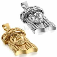 Men's Jesus Piece Charm Pendant Silver Gold Tone Stainless Steel Chain Necklace
