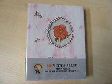 Rosa/blanco floral álbum de fotos - 100 - DESLIZABLE Bolsillos - 10.2x15.2cm -