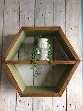 1 HEXAGON SHELF OLIVE DARK OAK SCANDI RETRO WALL DISPLAY PLANT ART GEO GIFT.