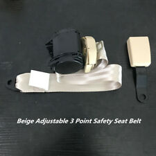 Universal Car Buckle 3 Point Adjustable Static Seat Belt Iron Plate Kit Beige