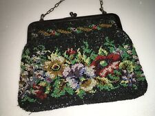 Antique Art Deco Beaded Purse / Clutch Bag Flapper /Seed Bead/ Colors on Black