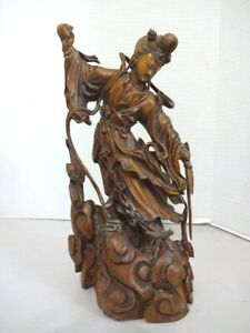 Vintage Chinese Goddess Hand Carved Boxwood Statue