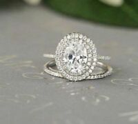 Certified 2.70Ct Oval Diamond Halo Engagement Wedding Ring Set in 14K White Gold