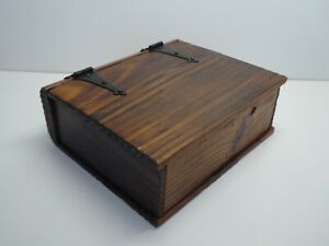 BOOK FORM WOODEN BOX WROUGHT IRON VINTAGE JEWELRY BOX BOITE BOIS