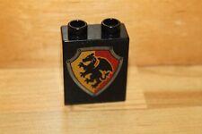 Lego Duplo Ritterburg - 1 Wappen Stein 2x2 Motiv Stein Drache schwarz 4777 4066