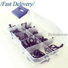 80Pcs Fishing Rod Parts Tip Tops Repair Guides Sea Fishing 8 Sizes with Box