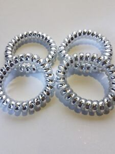 4 Large Silver Coloured Spiral Hair Band Hairbands Bobbles Stretchy