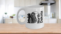 North Dakota Mug White Coffee Cup Gift for Great Plains Prairie Grasses Bad Land