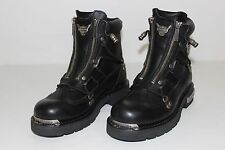 HD Harley Davidson Mens 7.5 Black Leather Zip Up Motorcycle Riding Boots 91680