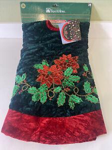 """48"""" Diameter Christmas Tree Skirt Velvet Embroidered Style Design"""