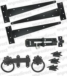 """Tee Hinge 12"""" 300mm Wooden Gate Fitting Kit Garden Gate Ironmongery Set Black"""