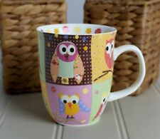 Colorful PATCHWORK OWLS Coffee Mug Cup Creative Tops 14 oz Multi Color - New
