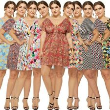 Plus Size Women's Boho V-neck Summer Beach Dresses Evening Party Ladies Sundress