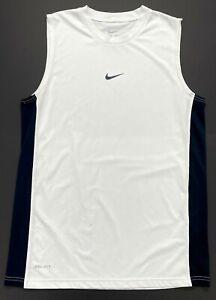 Nike Dri-Fit White Black Running Basketball Tank Top Muscle Shirt Men's Small S