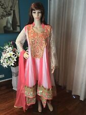 "44"" XL Net Designer Salwar Kameez Bollywood Indian Dress Peach White Cream A99"
