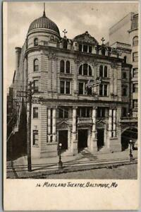 """1900s BALTIMORE, MD Postcard """"MARYLAND THEATRE"""" Building / Street View Unused"""