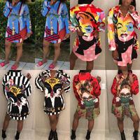 Women's Boho Hippie Printed Long Sleeve Loose Tops Casual T-shirt Blouses Shirts
