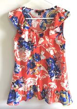 Style Co. Orange Multi-color Floral Top Sleeveless V-Neck Polyester Size Small