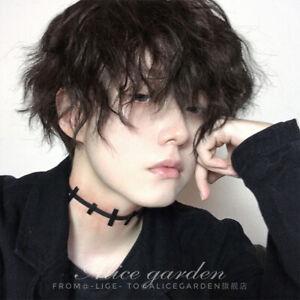 Japanese Lolita Harajuku Cosplay Black Curly Hair Mens Daily Wigs Gay Periwig