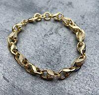 18ct Gold GF 3D Tulip Bracelet with Stones 24k 24ct new mens ladies cz bling