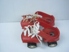 Vintage Zipees  Roller Skates Child  Plastic Over The Shoe Lace Up Red