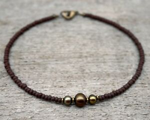 Thin Green and Bronze Pearl Anklet with Brown Glass Beads - Pearl Ankle Bracelet