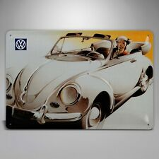"""Air Cooled VW White Convertible Beetle Bug Metal Sign 7-7/8"""" x 11-5/8"""" 366205"""