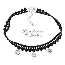 18K White Gold Plated Cubic Zirconia Popular Black Lace Choker Necklace