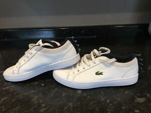 Boys Lacoste White & Blue Trainers Size 1