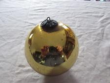 ancienne boule de noel en verre eglomise mercurise 19eme couleur jaune