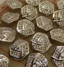 12 silver metal rhinestone Czech shank buttons 6 side folded design 24mm 15/16""