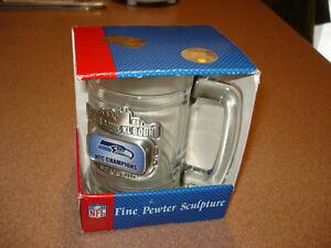 2005 SEATTLE SEAHAWKS CHAMPS PEWTER LOG0 HEAVY DUTY Coffee Mug CLEAR STEIN