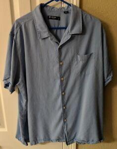 Men's XXL 2XL Daniel Cremieux Classics button front shirt solid blue pocket