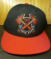 Atlanta Braves Black & Red Fitted Hat Size 7 3/8 Cooperstown Collection New Era